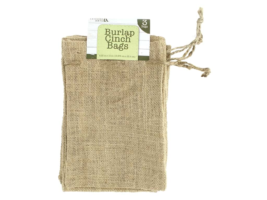 Leisure Arts Burlap Cinch Bags - Natural 3 pc.