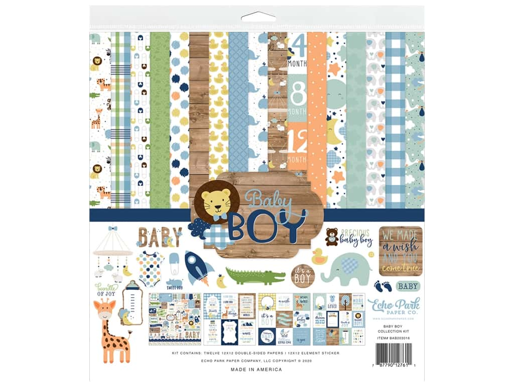 """Echo Park Collection Baby Boy Kit 12""""x 12"""""""