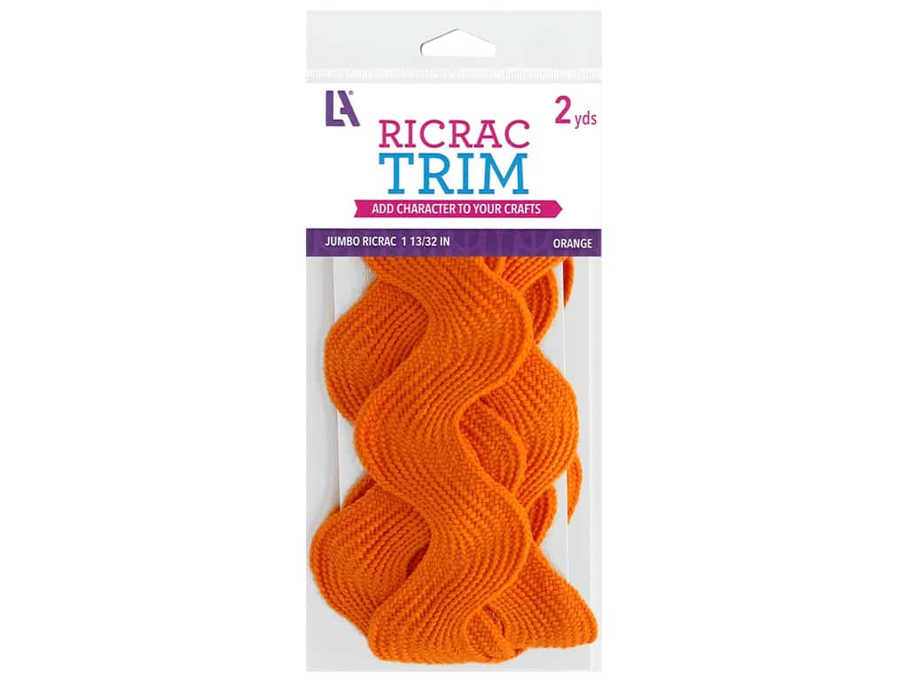 "Leisure Arts Trim Ric Rac Jumbo 1 13/32"" Orange 2yd"