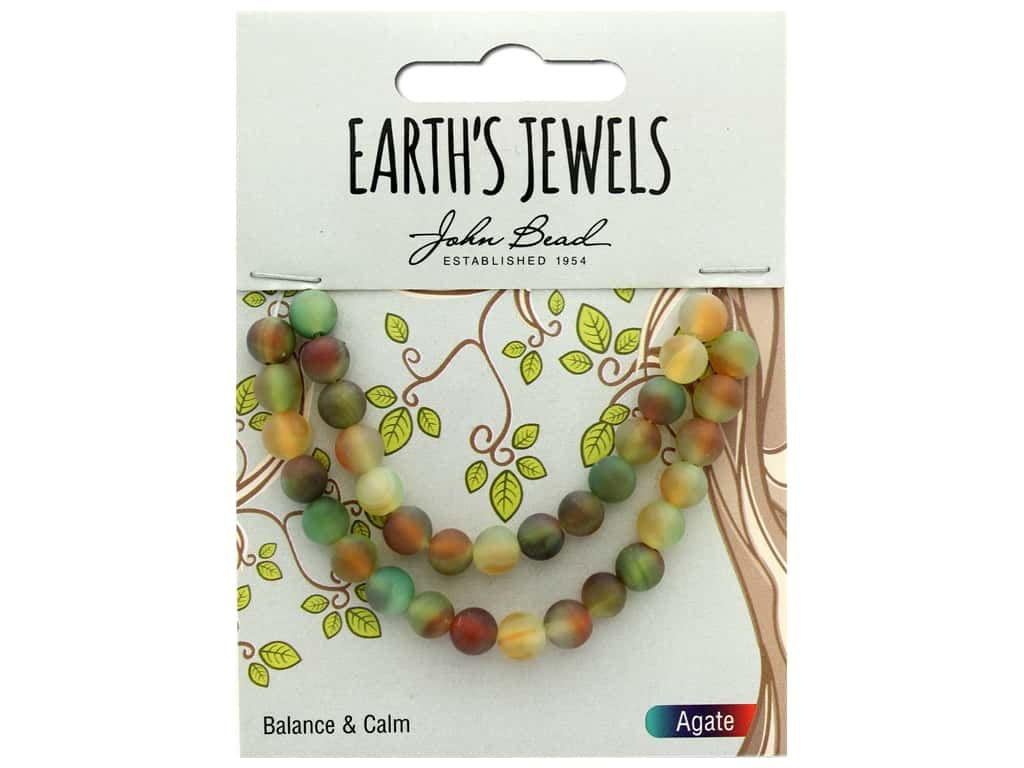 """John Bead Semi Precious Bead Earth's Jewels Red Agate 6mm Round Matte Dyed 8"""""""