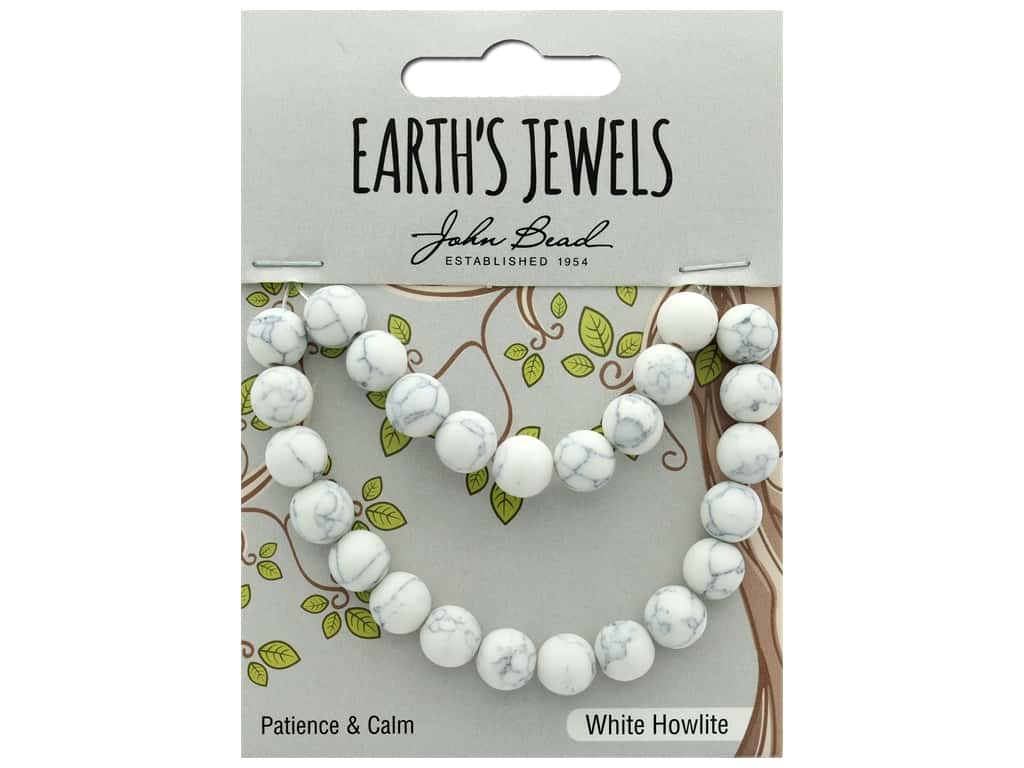 John Bead Semi Precious Bead Earth's Jewels White Howlite 8mm Round Matte 8""