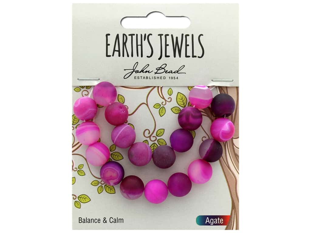 John Bead Semi Precious Bead Earth's Jewels Pink Agate 10mm Round Matte 8""
