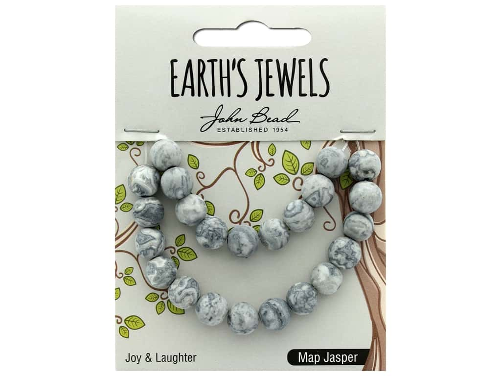 John Bead Semi Precious Bead Earth's Jewels Map Jasper 8mm Round Matte 8""