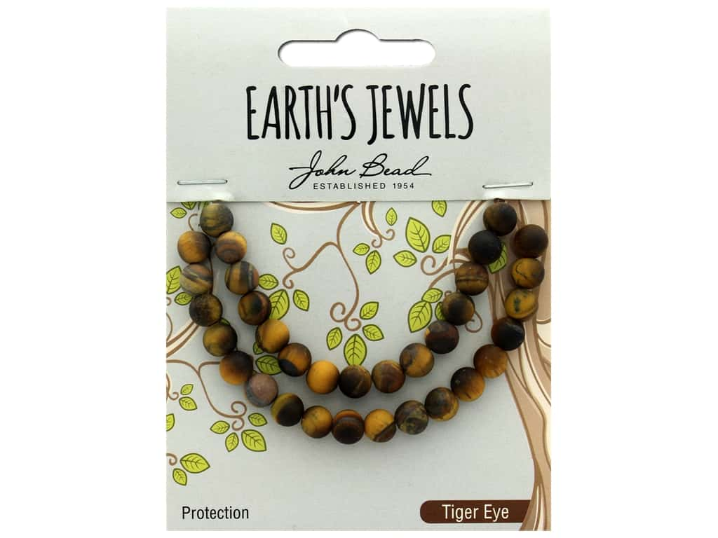 John Bead Semi Precious Bead Earth's Jewels Tiger Eye 6mm Round Matte Natural 8""