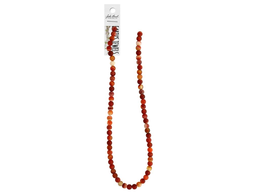 """John Bead Semi Precious Bead Earth's Jewels Red Agate 6mm Round Matte Dyed 16"""""""