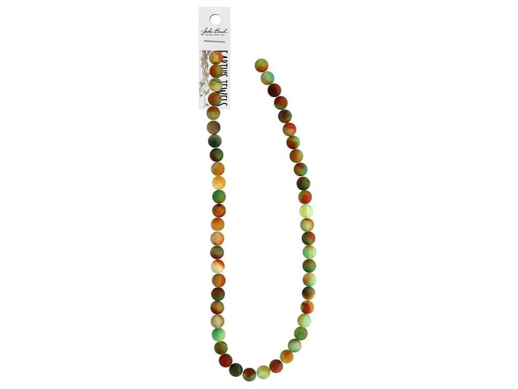 """John Bead Semi Precious Bead Earth's Jewels Red & Green Agate 8mm Round Matte Dyed 16"""""""