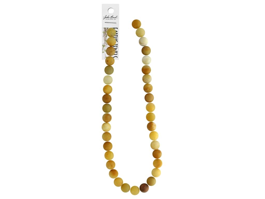 John Bead Semi Precious Bead Earth's Jewels Yellow Jade 10mm Round Matte 16""
