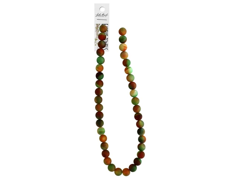 """John Bead Semi Precious Bead Earth's Jewels Red & Green Agate 10mm Round Matte Dyed 16"""""""