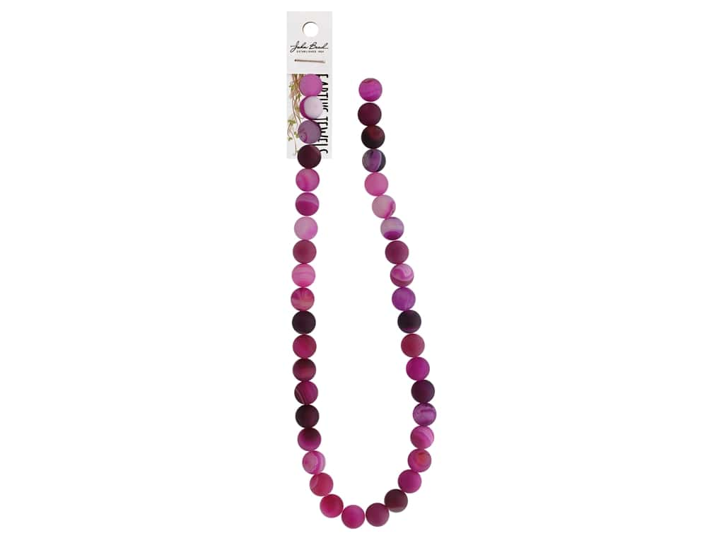 """John Bead Semi Precious Bead Earth's Jewels Pink Agate 10mm Round Matte Dyed 16"""""""