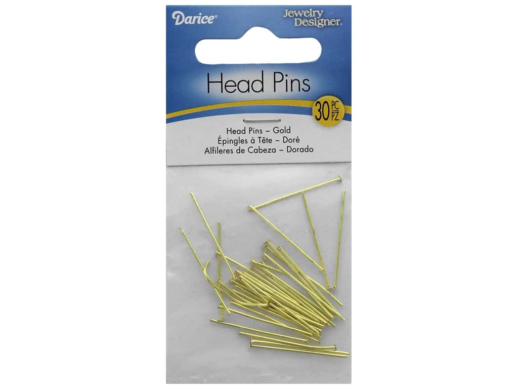 Darice Head Pin Gold Plated Brass 30pc