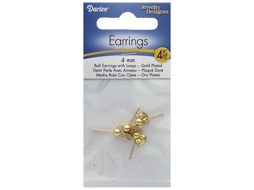 Darice Earring Ball Post with Loop 4mm Gold 4pc