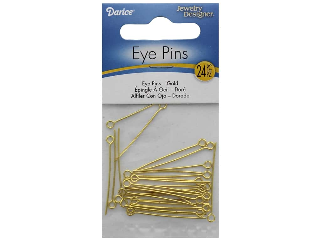"Darice Eye Pin 1.25"" Gold Plated Brass 24pc"