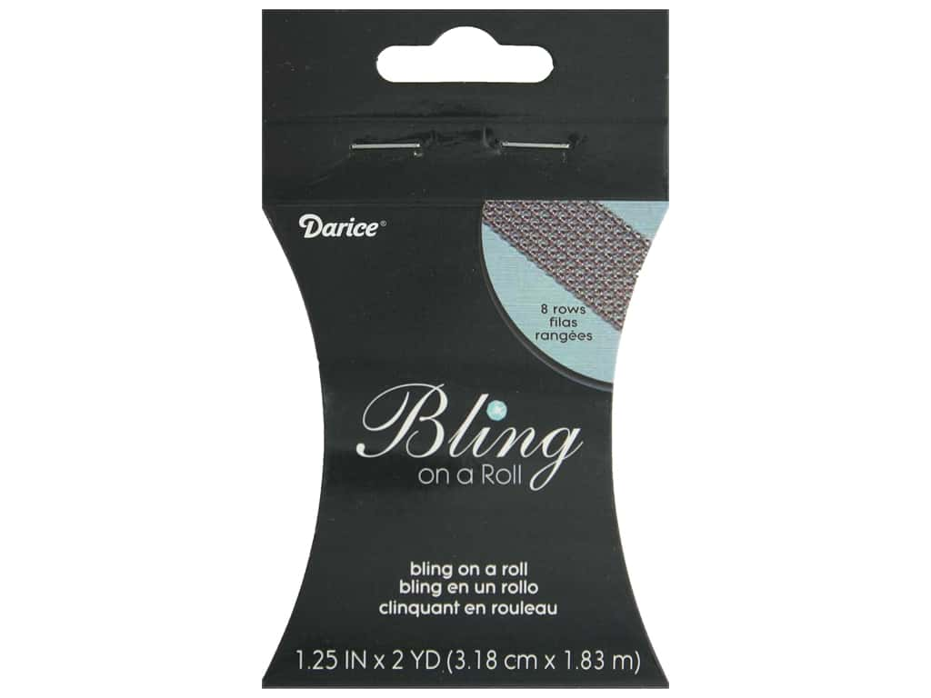 "Darice Ribbon Mesh Bling On A Roll 1.25"" Silver 2yd"