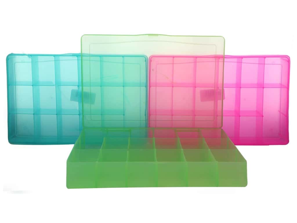 Darice Organizer Box 17 Compartments Assorted Lime/Teal/Magenta