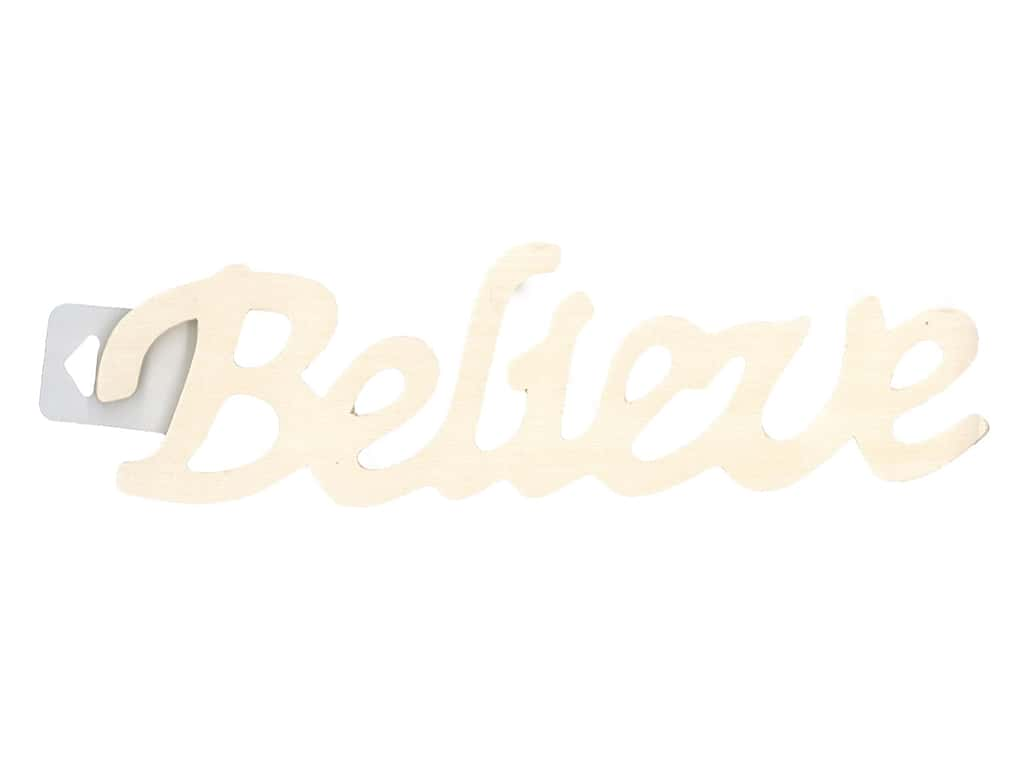 "Darice Wood Word Script 9.5"" Believe"