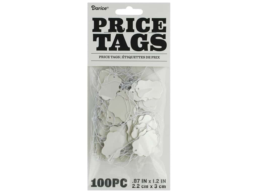 "Darice Jewelry Display Price Tag .88""x 1.2"" Cream 100pc"