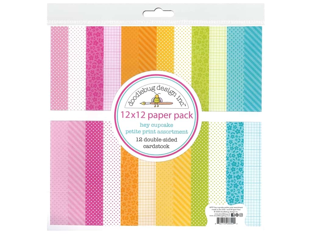 """Doodlebug Collection Hey Cupcake Paper Pack 12""""x 12"""" Petite Print"""
