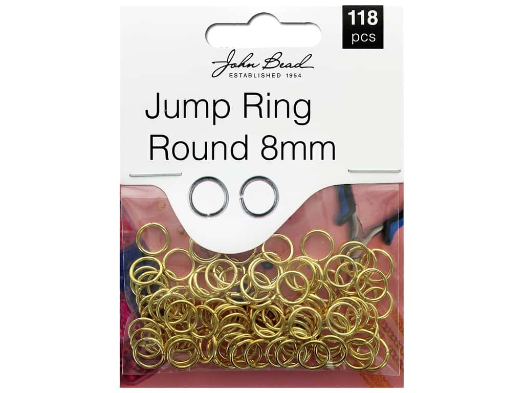 John Bead Must Have Findings Jump Ring Round 8mm Gold 118pc