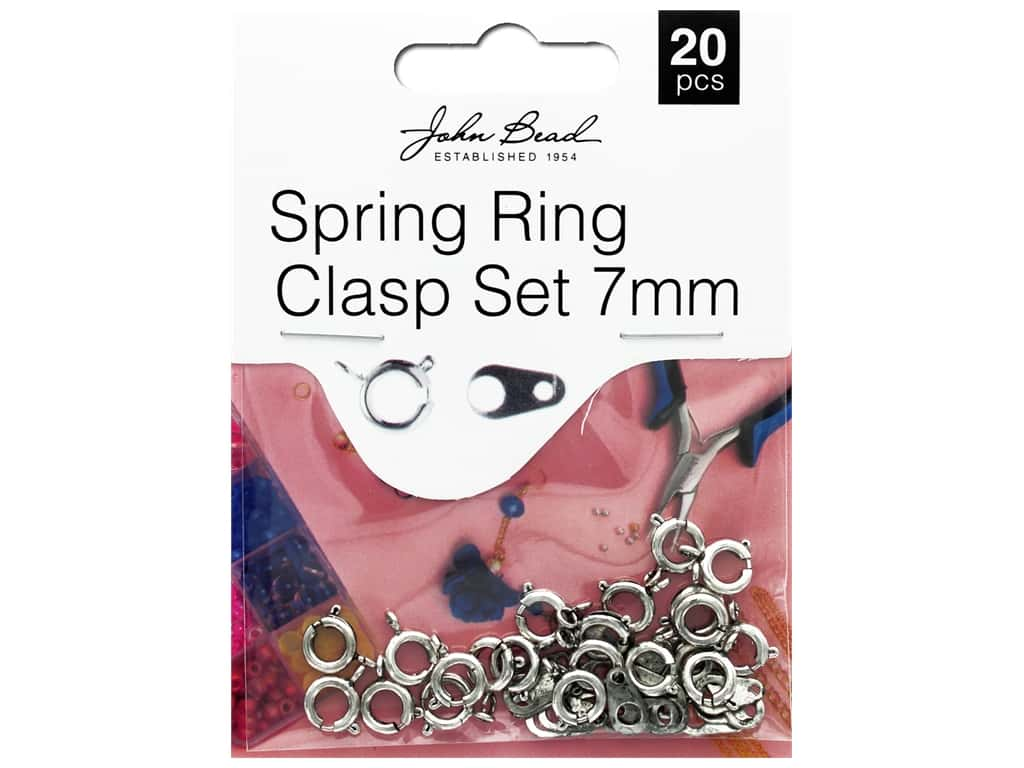 John Bead Must Have Findings Spring Ring Clasp 7mm Antique Silver 20pc