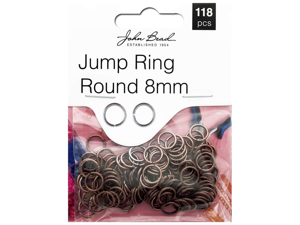John Bead Must Have Findings Jump Ring Round 8mm Antique Copper 118pc
