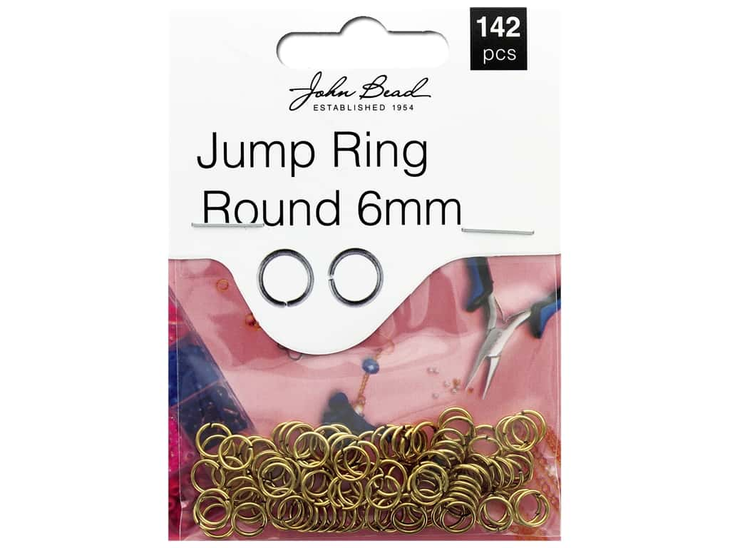 John Bead Must Have Findings Jump Ring Round 6mm Antique Gold 142pc
