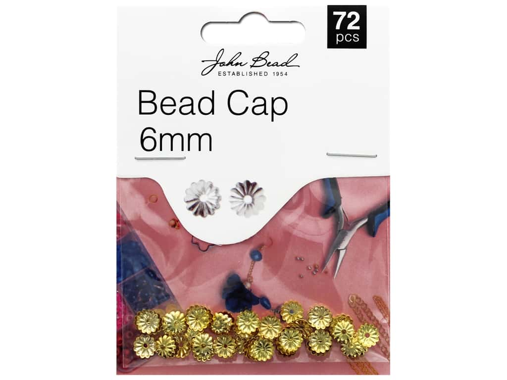 John Bead Must Have Findings Bead Cap 6mm Gold 72pc