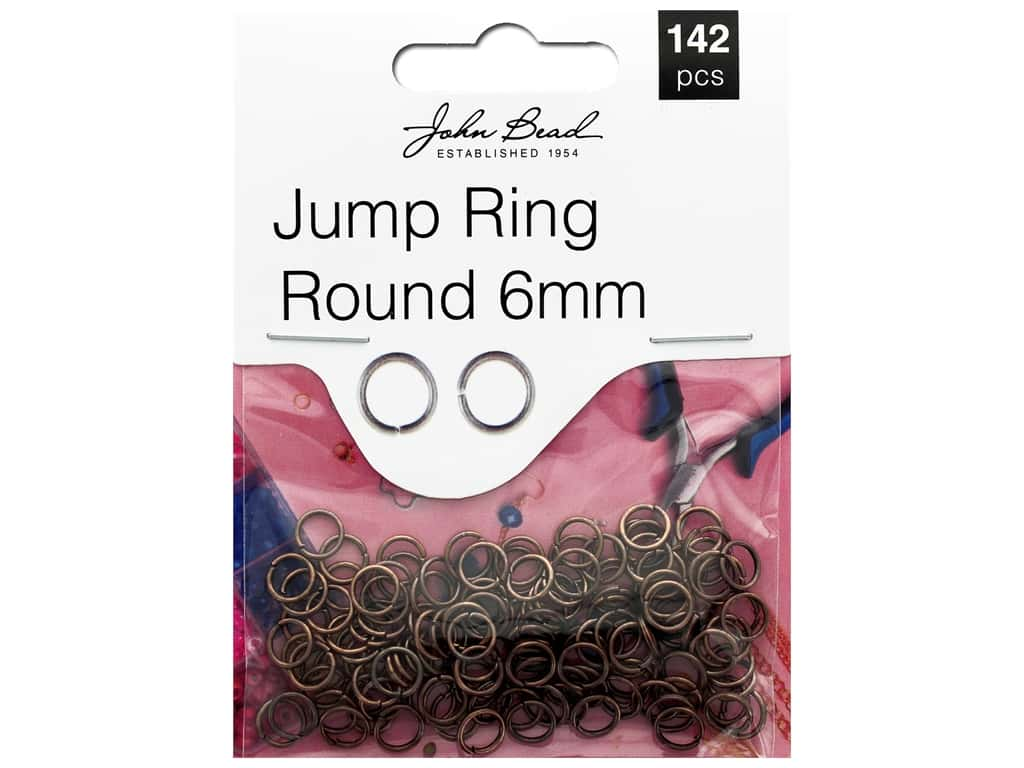 John Bead Must Have Findings Jump Ring Round 6mm Antique Copper 142pc