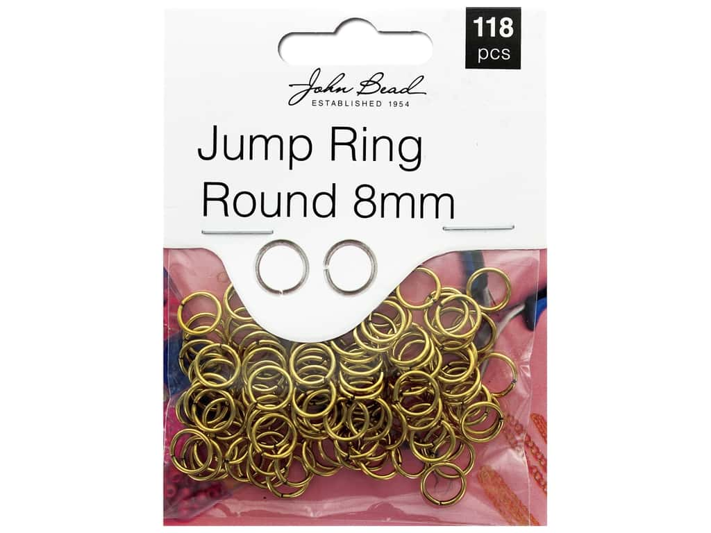 John Bead Must Have Findings Jump Ring Round 8mm Antique Gold 118pc