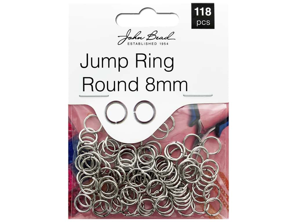 John Bead Must Have Findings Jump Ring Round 8mm Antique Silver 118pc