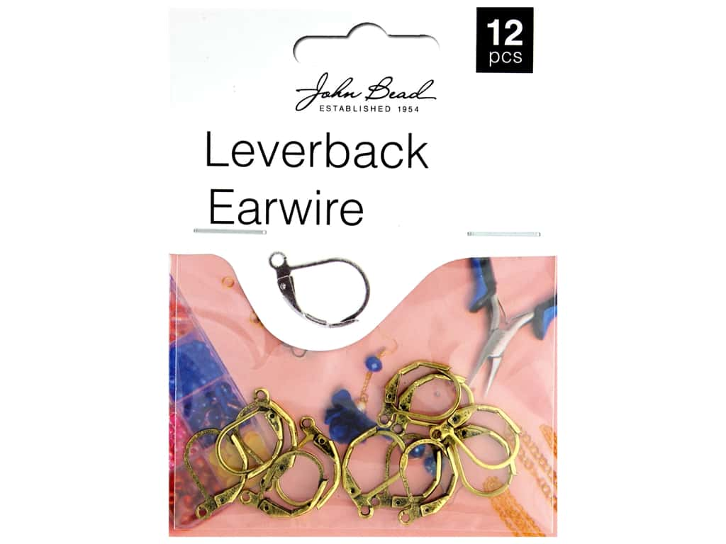 John Bead Must Have Findings Earwire Leverback 15mm Antique Gold 12pc