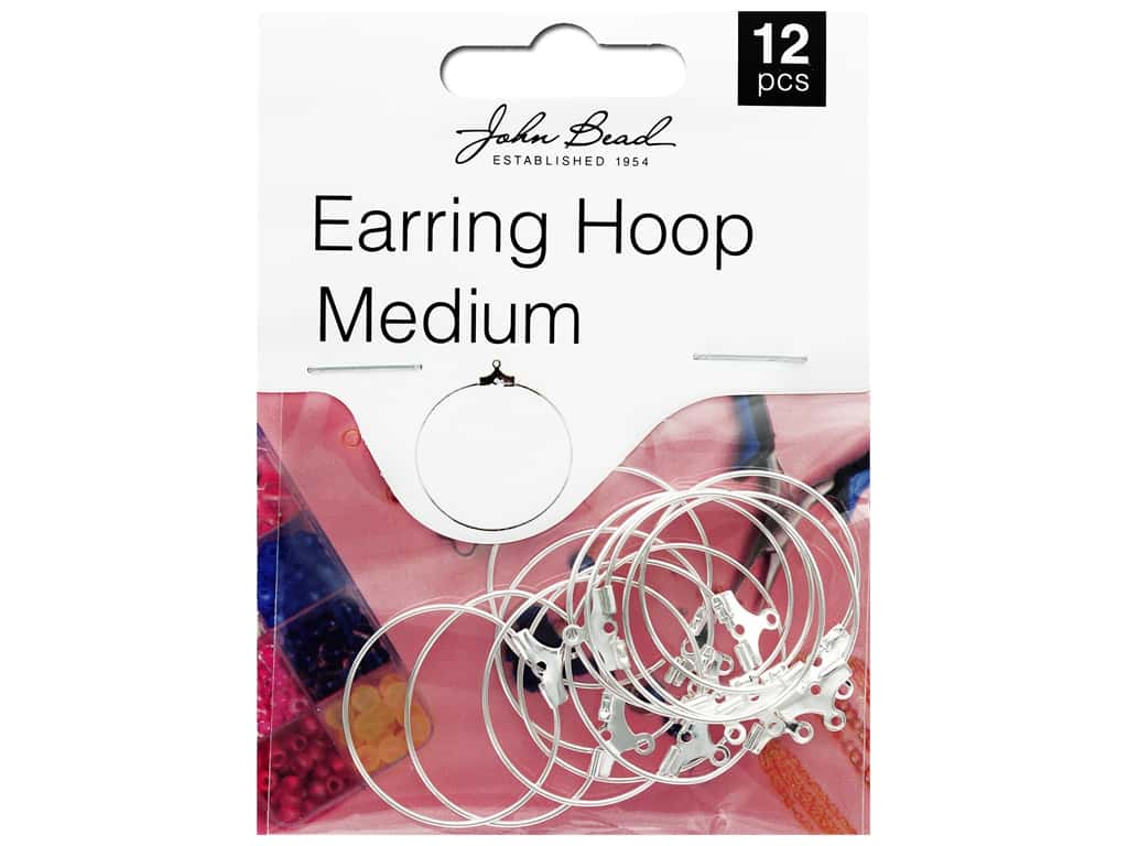 John Bead Must Have Findings Earring Hoop Medium 25mm Silver 12pc