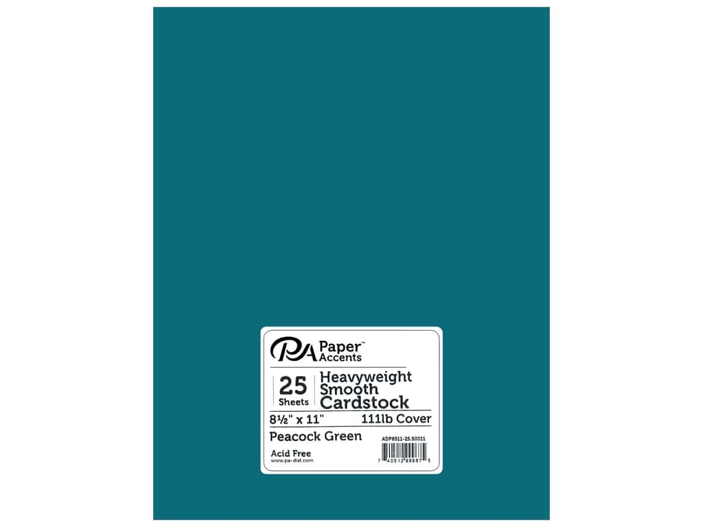 Paper Accents Cardstock 8 1/2 x 11 in. #50011 Heavyweight Smooth Peacock Green 25 pc.