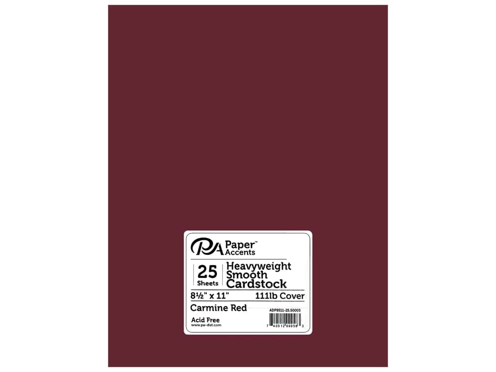 """Paper Accents Cardstock 8.5""""x 11"""" Heavyweight Smooth 111lb Carmine Red 25pc"""