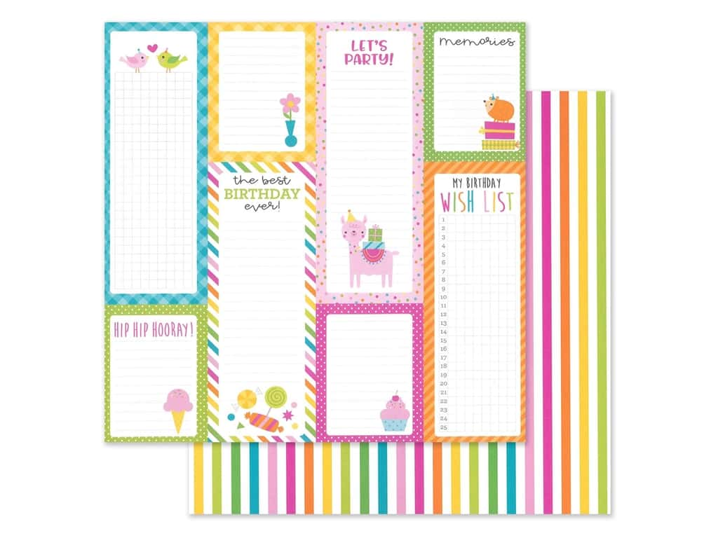 """Doodlebug Collection Hey Cupcake Paper 12""""x 12"""" Sundae Strips (25 pieces)"""