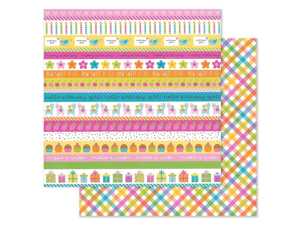 """Doodlebug Collection Hey Cupcake Paper 12""""x 12"""" Plaid Party Girl (25 pieces)"""
