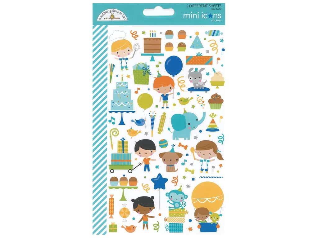 Doodlebug Mini Icons Stickers - Party Time