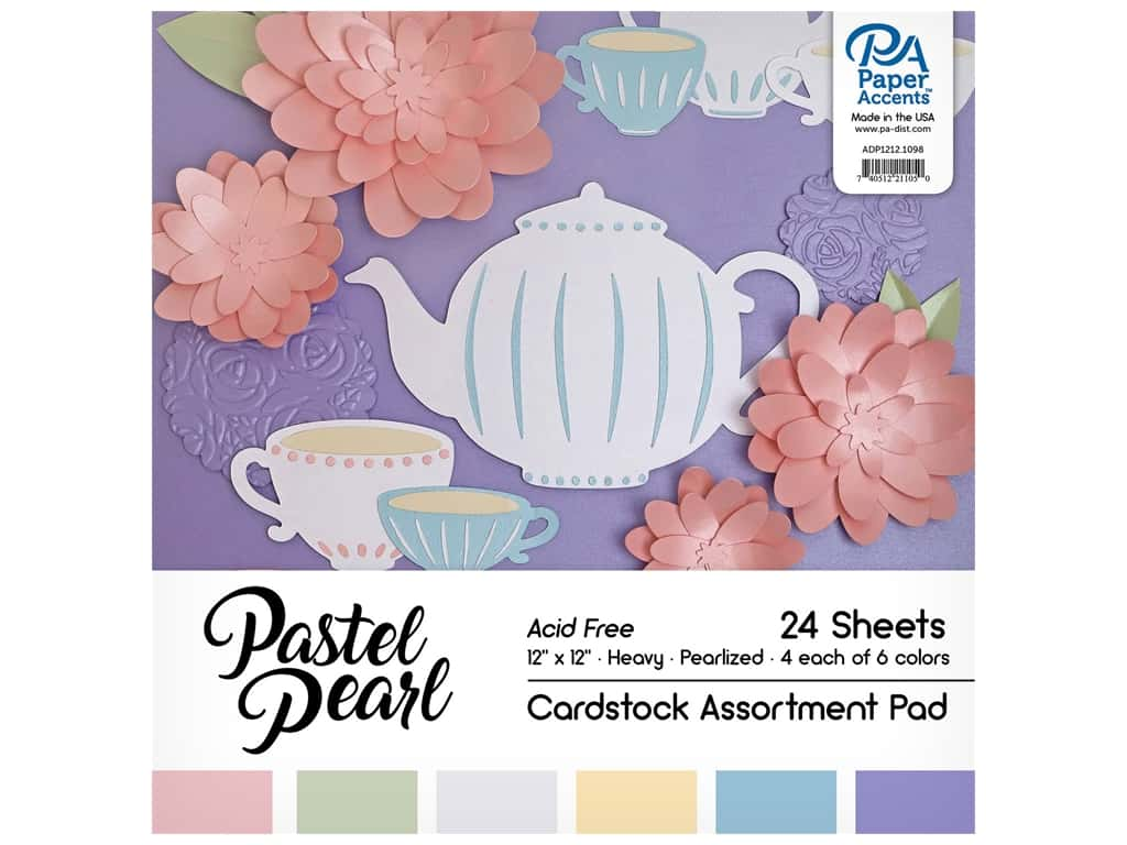 Paper Accents 12 x 12 in. Cardstock Pad 24 pc. Pearlized Pastels