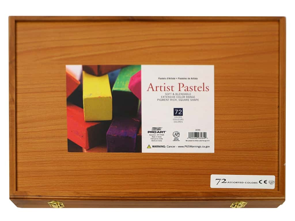 Pro Art Artist Pastel Square Wood Box 72pc