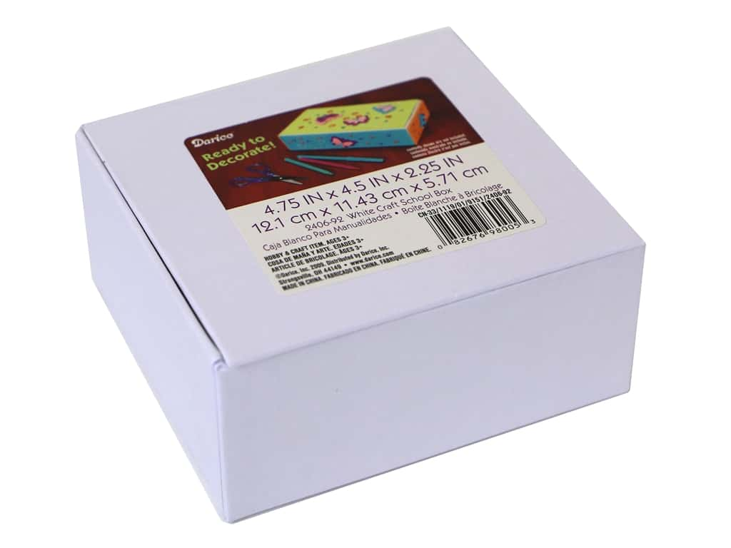 "Darice Craft School Box 4.75""x 4.5"" White"
