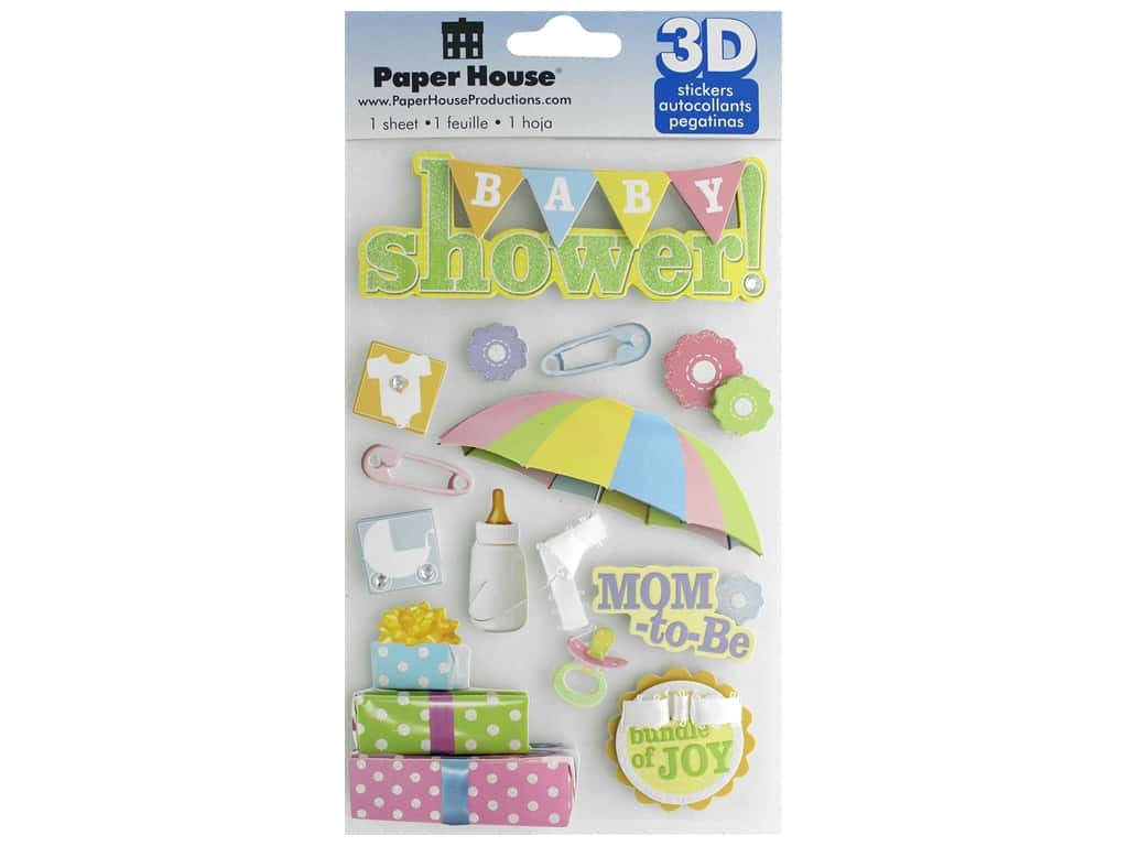 Paper House Sticker 3D Baby Shower