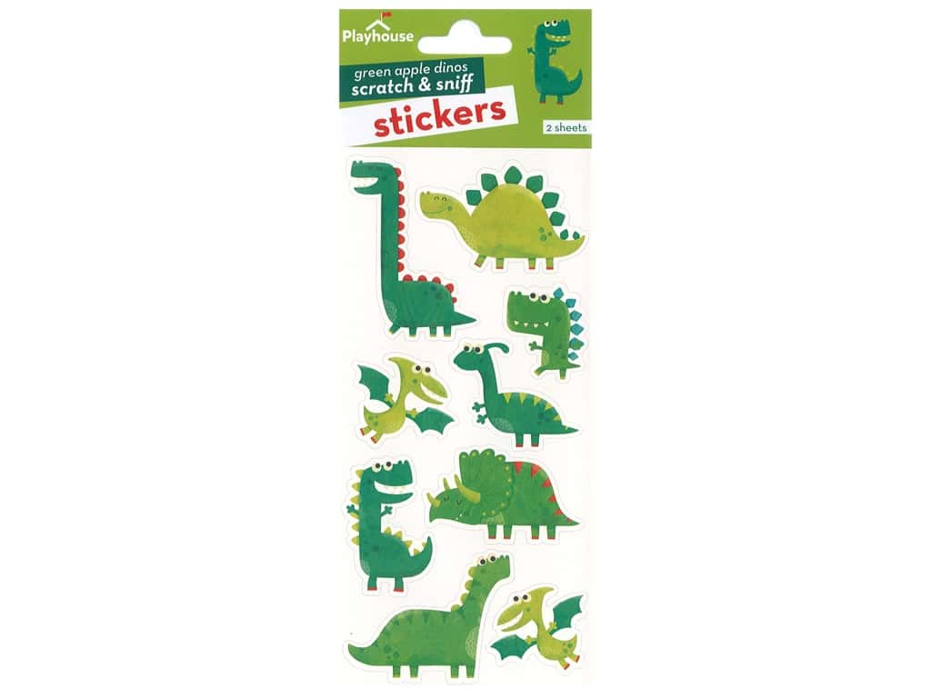 Paper House Sticker Scratch & Sniff Green Apple Dinosaurs