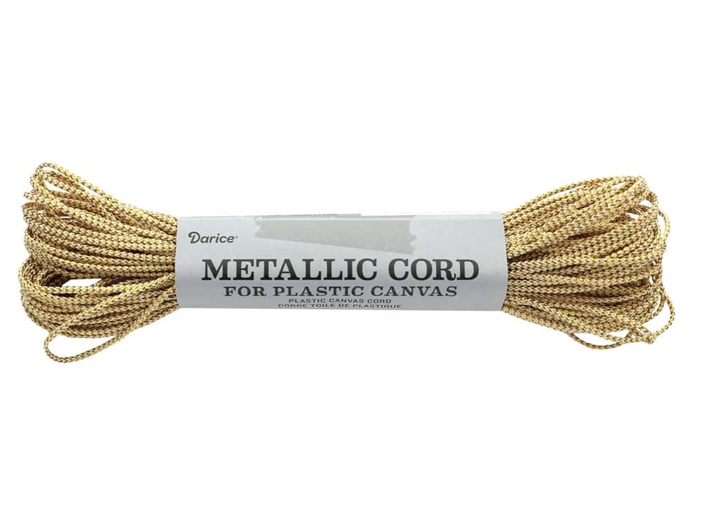 Darice Metallic Plastic Canvas Cord 27 yd. Gold & White