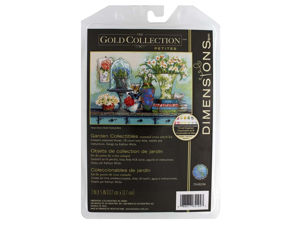 """Dimensions Cross Stitch Kit Gold Collection 7""""x 5"""" Garden Collectibles"""