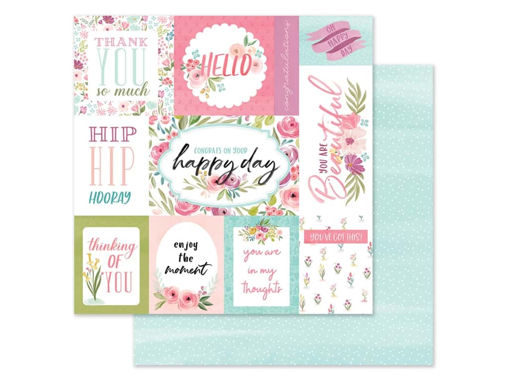 "Carta Bella Collection Flora #3 Paper 12""x 12"" Bright Journal Cards (25 pieces)"