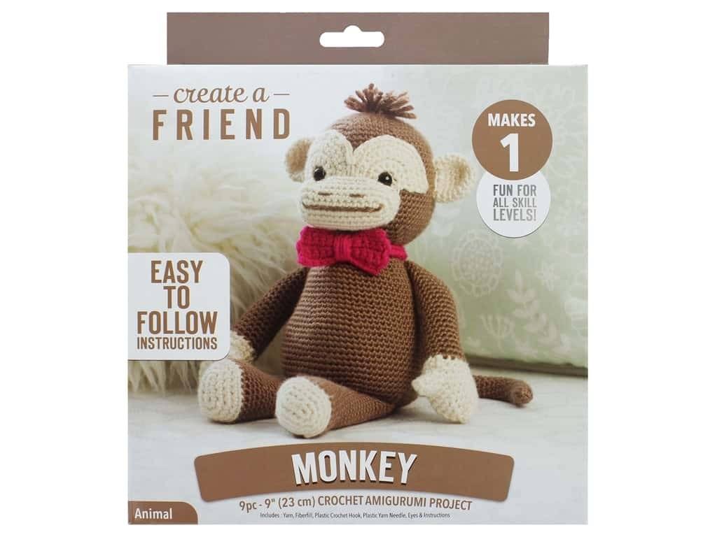 Leisure Arts Create A Friend Crochet Kit - Amigurumi Monkey