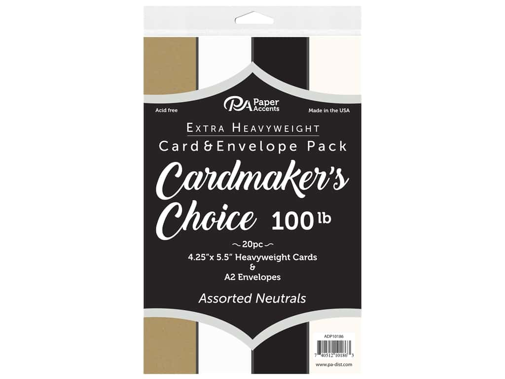 Paper Accents Cardmakers Choice Blank Card & Envelopes - 4 1/4 x 5 1/2 in. - 100 lb. Neutrals 20 pc.
