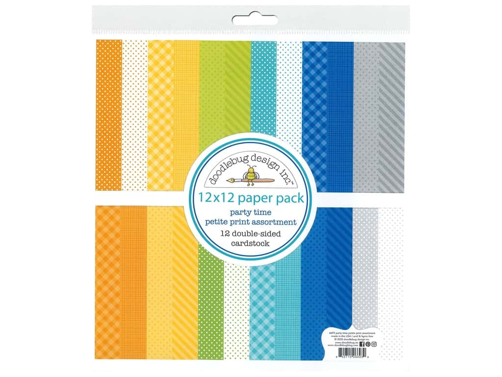 """Doodlebug Party Time Paper Pack 12""""x 12"""" Petite"""