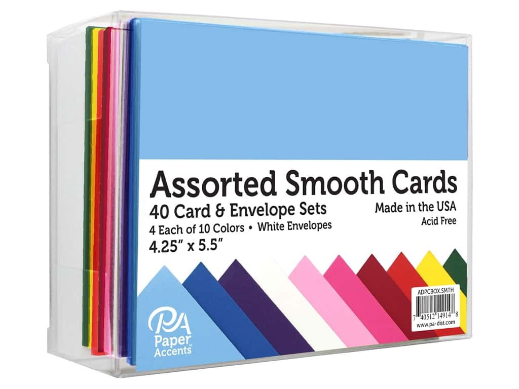 "Paper Accents Card & Envelopes 4.25""x 5.5"" Smooth Assorted 40pc"