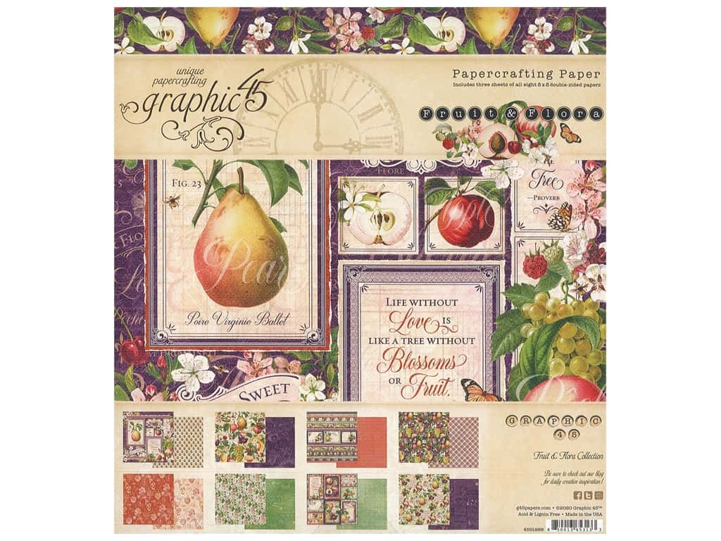 "Graphic 45 Fruit & Flora Paper Pad 8""x 8"""