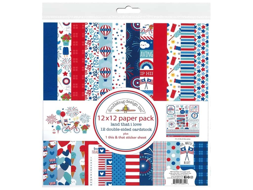 Doodlebug Land That I Love Paper Pack  12 in. x 12 in.